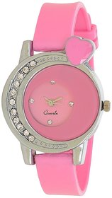 Glory Pink Style Heart Shape Diamond Fancy look Collection PU Analog Watch - For Women by 7Star