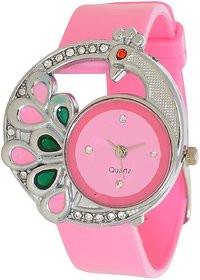 Glory Pink Stylish Peacock Fancy Look Collection Pu Analog Watch For Wo