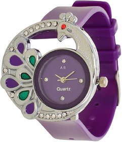 Glory Purple style Peacock Fancy look Collection PU Analog Watch - For Women by 7Star