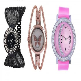 New Daimond Zulla Gold Dori And Moon Pink Analog Watch Combo For Girls, Women.