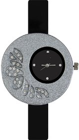 Glory Big Fancy Designer look Collection Black PU Analog Watch - For Women by 7Star
