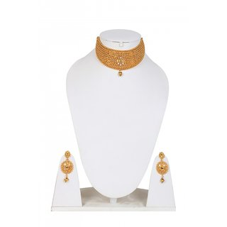 Jewels Gehna Party Wear Fashion Designer Unique Traditional Stone Golden Necklace Set With Earring Set For Women  Girls
