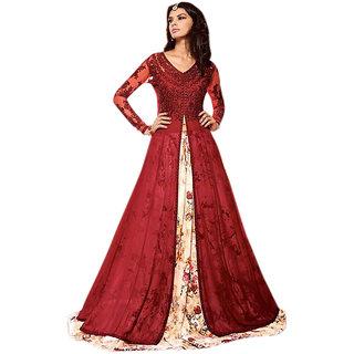 9ea5a8c9e6e9 Aika Net Georgette Fabric Embroidery Indo Western Dress Material For Women  ( RedMulticolour )-S012