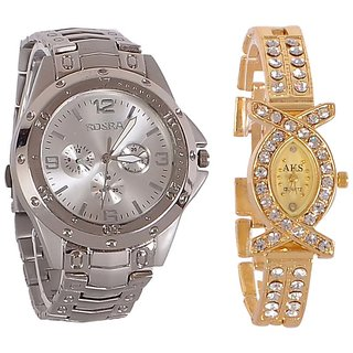 Rosra Silver And Aks Golden Collection Fancy Couple Analog Watches For Men And Women