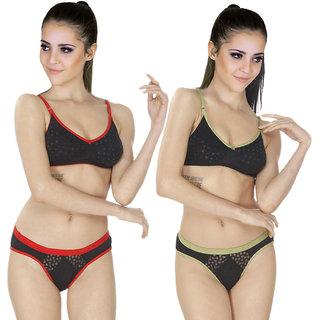 3e708a2996 Buy SK Dreams Multi Color Cotton Set Of 2 Women S Bra   Panty Sets ...