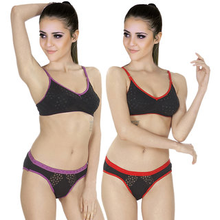 Buy SK Dreams Multi Color Cotton Set Of 2 Women S Bra   Panty Sets Combo  Online - Get 45% Off 66645cecd