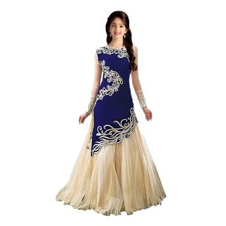 5622fcf86 Buy Blue Velvet Embroidered Semi Stitched Lehenga Online   ₹599 from  ShopClues