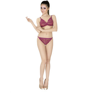 ee8eb58211 Buy SK Dreams Purple Lace Set Of 1 Women S Bra   Panty Sets Combo ...