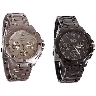 Rosra Silver  Black Combo of 2 Casual Watches For Mens