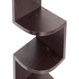 Home Decor Zigzag Corner Wall Mount Shelf Unit Great Finish (Brown)
