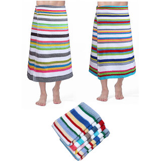 Angel Home Store Combo of 2 Bath towel and 5 Face Towel