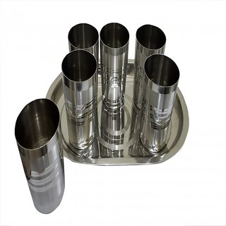 Set of 6 Glass and 1 Tray