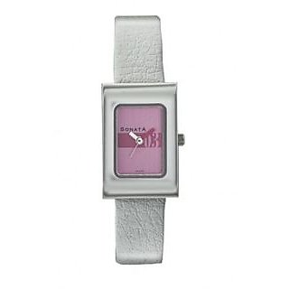 Sonata Quartz Green Rectangle Women Watch 8024SL09