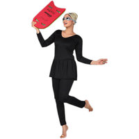 LADIES SWIMMING COSTUME CONCIOUS FULL LEG- SLEEVES- FROCK STYLE -S TO 5XL SIZE