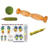 ACM ACUPRESSURE Foot Roller Cut Wooden Massager With Chart  3 Massager Kit SMART Massager  (Brown, Green)