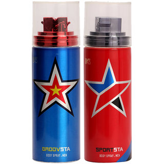 MTV Spray Deodrants For Men(Groovsta+Sportsta) - 100ml  (Set of 2)