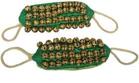 Holy Krishna's Ghungroo 4 Line Professional Green Soft Velvet (40+40 Ghungroo) for Kathak - Bharatnatyam + Free Laxmi AT