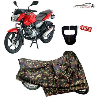 De AutoCare Premium Junglee Matty Two Wheeler Bike Body Cover For Bajaj pulsar 135 With Freebie Face Mask