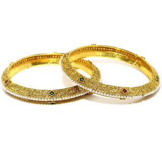 Zaveri Pearls Finely Detailed  Pearls Studded Bangles - ZPFK5909