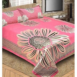 Pink Color Double Bedsheet With Two Pillow Cover