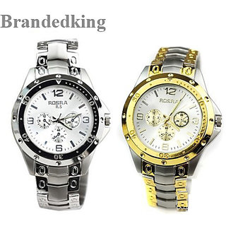 Rosara watches combo for Men special Offer (Golden +silver )