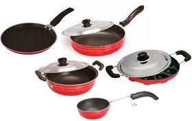 Non Stick Cookware set of 5- Dosa Tawa, Kadhai with lid, Fry Pan with lid, Appam, Vagharia/Chokan pan