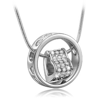 Om Jewells Silver Rhinestone Heart In Love Ring Pendant For Women - Pd1000809C