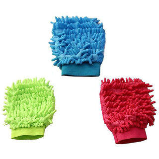Micro fibre Wash super Premium cleaning Gloves(color as per available)Pack of 3