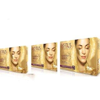 Lotus Herbal Radiant Gold Cellular Glow Facial Kit,525gm pack of 3