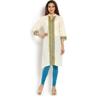 Soch Cream and Yellow Cotton Kurti