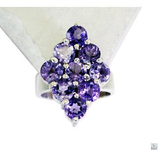 Amethyst 925 Sterling Silver Ring superb Purple gemstones Indian gift