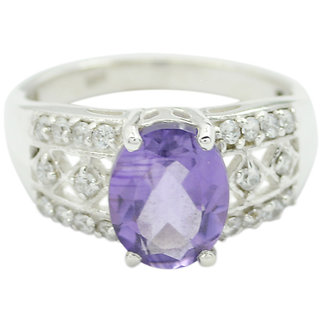 Amethyst 925 Sterling Silver Ring aesthetic Purple jewelry Indian gift