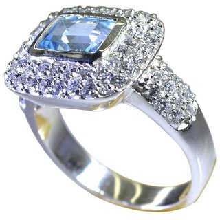 Blue Topaz 925 Sterling Silver Ring fine Blue gemstones Indian gift