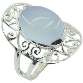 Chalcedony 925 Sterling Silver Ring hot Blue jaipur Indian gift