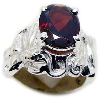 Garnet  925 Sterling Silver Ring symmetrical Red indian Indian gift