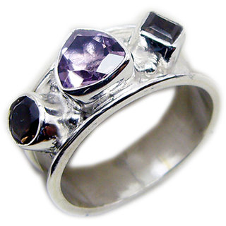 Multi Stone 925 Sterling Silver Ring exquisite Multicolor gemstone Indian gift