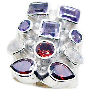 Multi Stone 925 Sterling Silver Ring  Multicolor  Indian gift