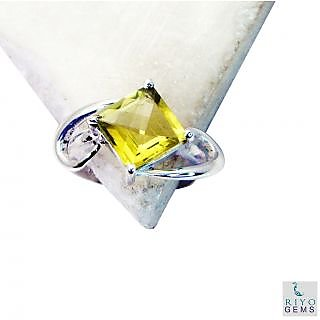 Lemon Quartz 925 Sterling Silver Ring flamboyant Yellow gemstone Indian gift