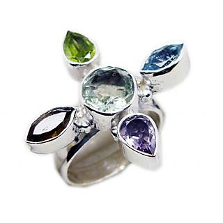 Multi Stone 925 Sterling Silver Ring lovesome Multicolor jewellery Indian gift