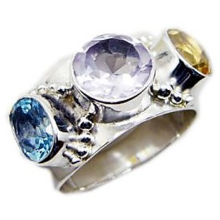Multi Stone 925 Sterling Silver Ring beauteous Multicolor jewelry Indian gift
