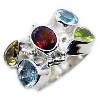 Multi Stone 925 Sterling Silver Ring ideal Multicolor gemstone Indian gift