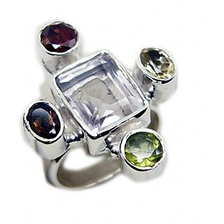 Multi Stone 925 Sterling Silver Ring marvelous Multicolor suppiler Indian gift