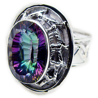 Mystic Quartz 925 Sterling Silver Ring excellent Multicolor jewellery Indian gift