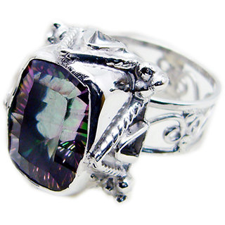 Mystic Quartz 925 Sterling Silver Ring inviting Multicolor exporter Indian gift
