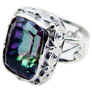Mystic Quartz 925 Sterling Silver Ring glamorous Multicolor exporter Indian gift