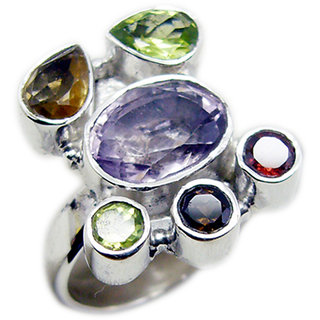 Multi Stone 925 Sterling Silver Ring admirable Multicolor gemstone Indian gift