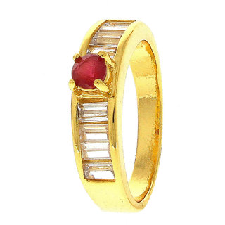 Anuradha Art Golden Colour Red Colour Classy Ruby Stone American Diamonds Classy Finger Ring For Women/Girls