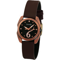 Howdy Beautiful Black Dial With Brown Leather Strap Ana