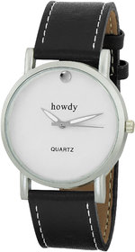 Howdy White Dial With Black Leather Strap Analog Watch