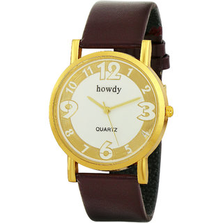Howdy White & Golden Dial with Brown Leather Analog Watch